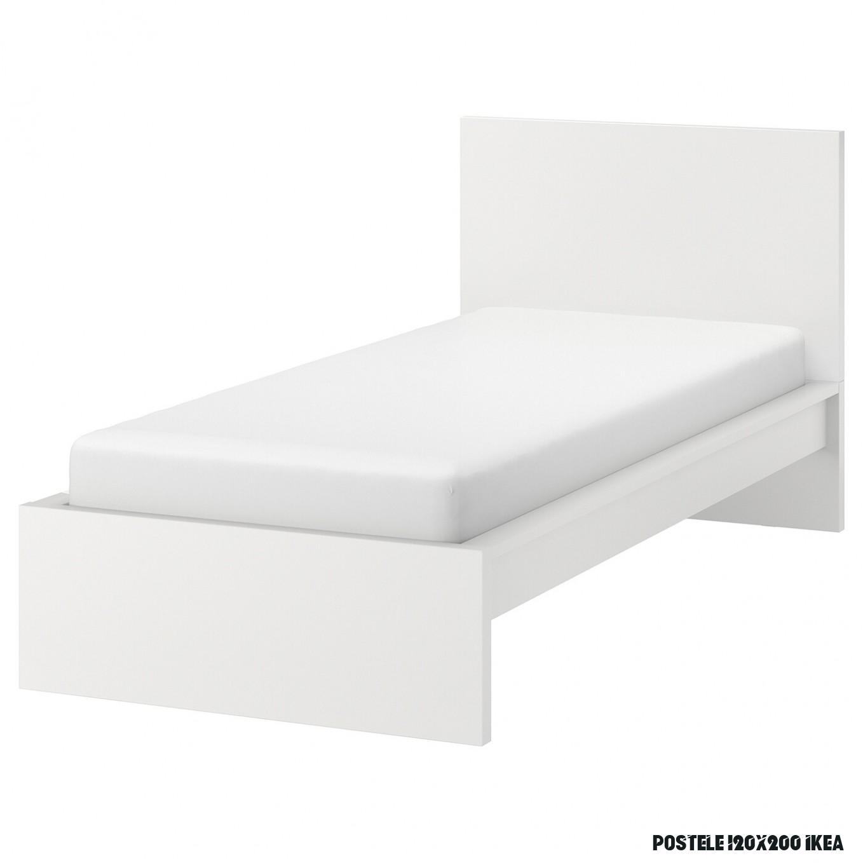 MALM Rám postele, vysoký - biela 6x6 cm