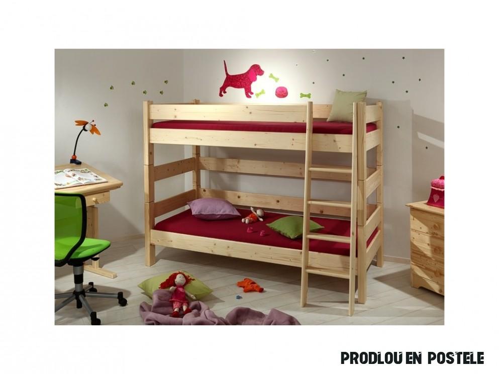 Gazel Sendy etážová postel 18 x 18 cm palanda 18 cm smrk přírodní + 18  kapsy na postel ZDARMA