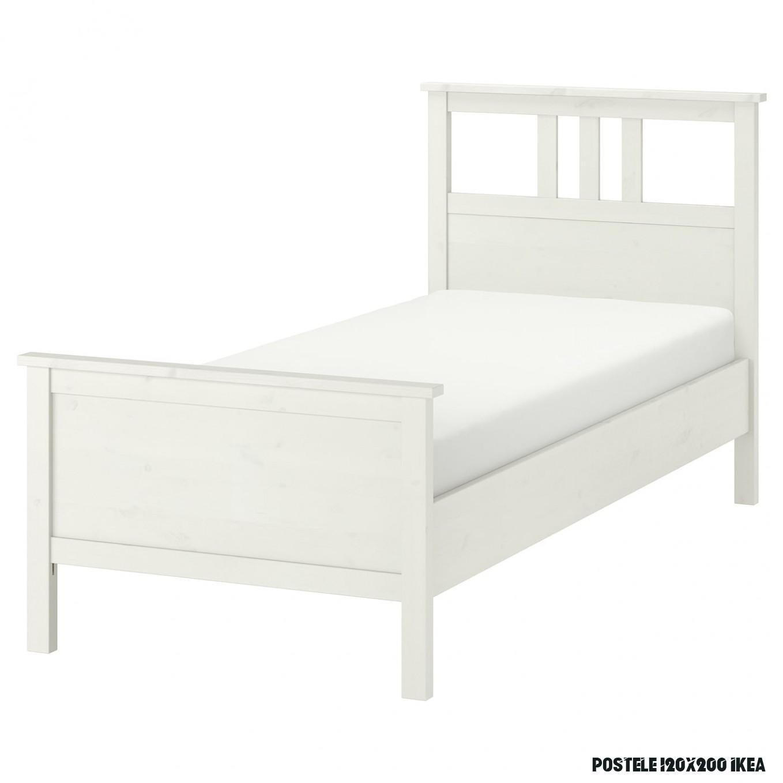 HEMNES Rám postele - bielo morené /Luröy 6x6 cm