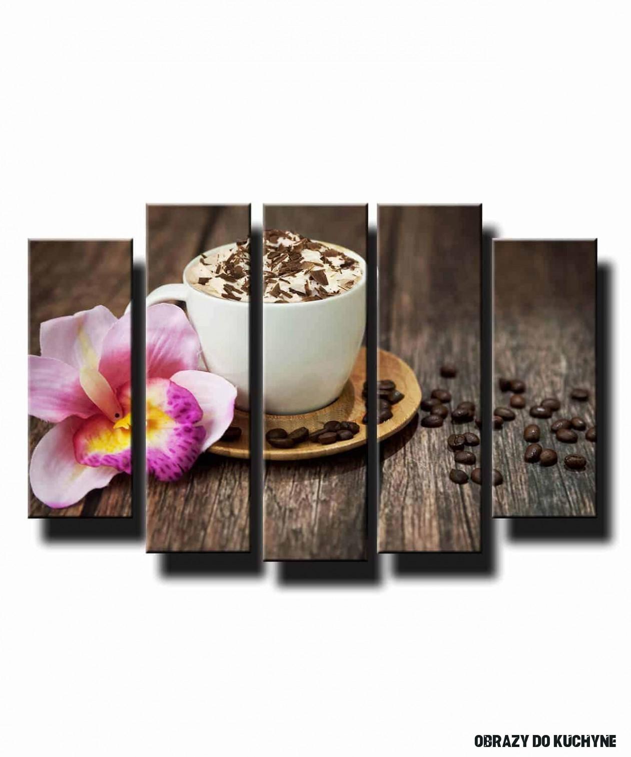 14 dielny obraz na stenu šálka kávy s orchideou