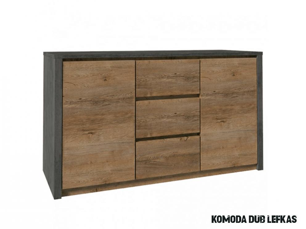 Komoda, dub lefkas tmavý/smooth šedý, MONTANA K10DP - NAKUP-NABYTEK.cz