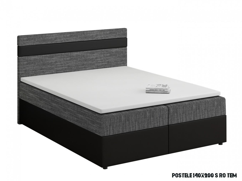 Manželská postel Boxspring 14x14 cm Mimosa (s roštem a matrací) (černá /  tmavě šedá)  HezkýNábytek.cz