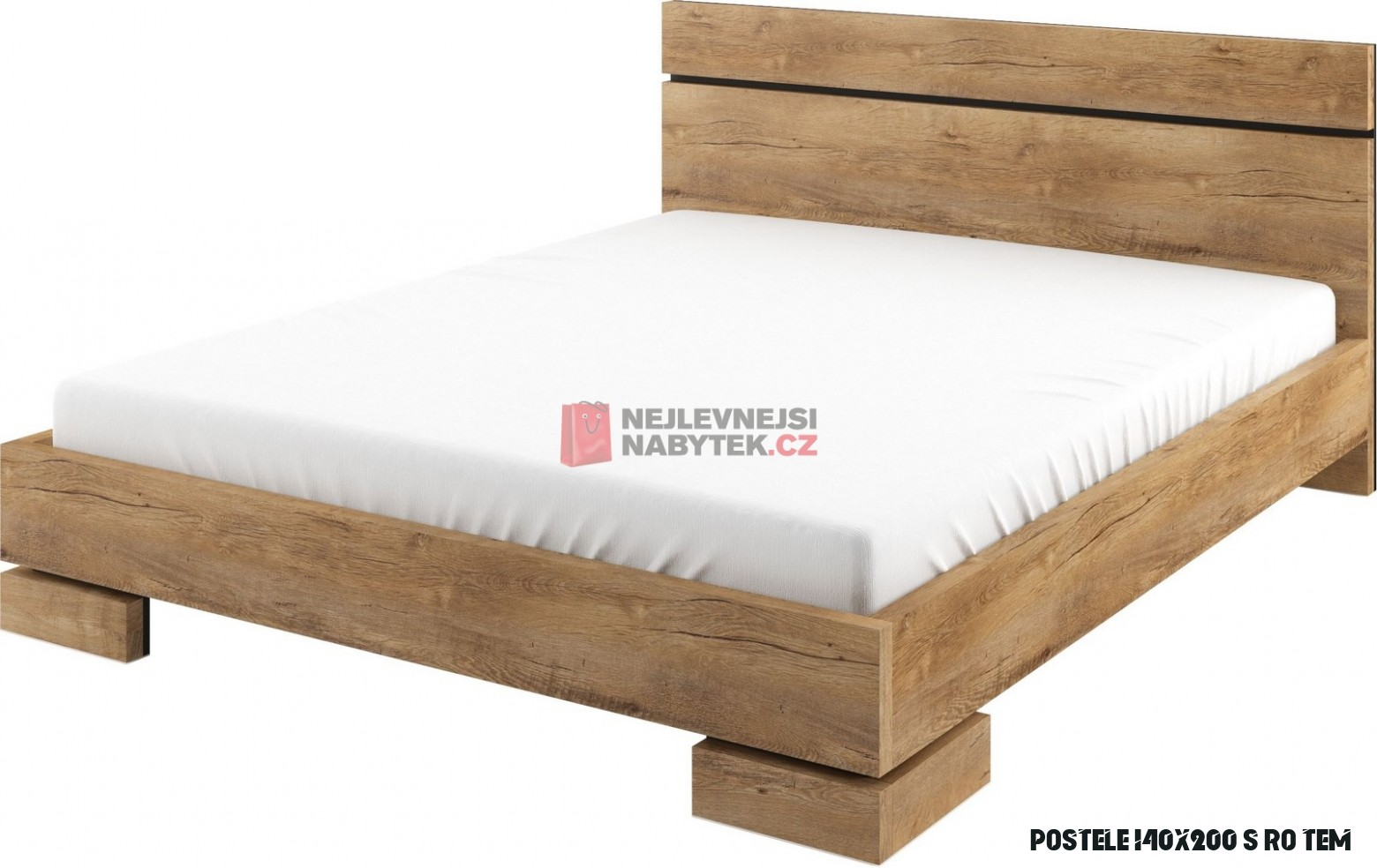 KARDAMON postel 14x14 cm s roštem, dub lefkas tmavý ZRUŠENO