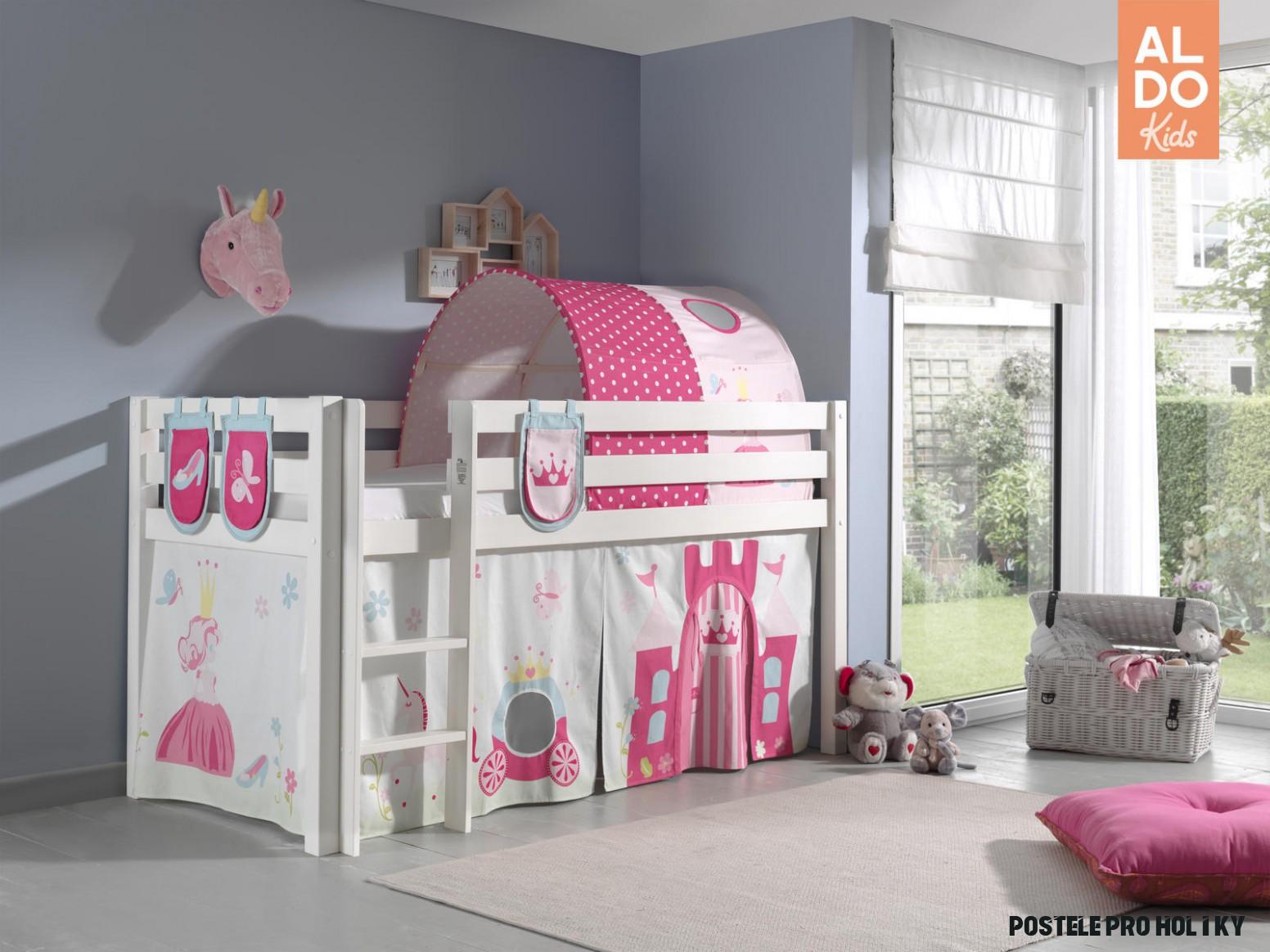 Bílá dětská patrová postel z masivu pro holky Pino