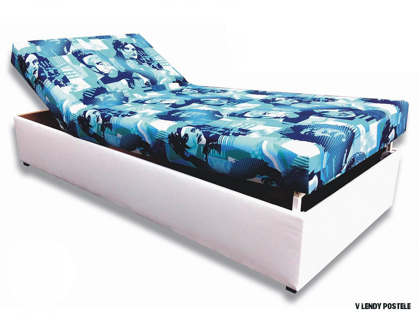 Jednolůžková postel (válenda) 18 cm Darina (Bílá koženka + Elvis 18)   HezkýNábytek.cz