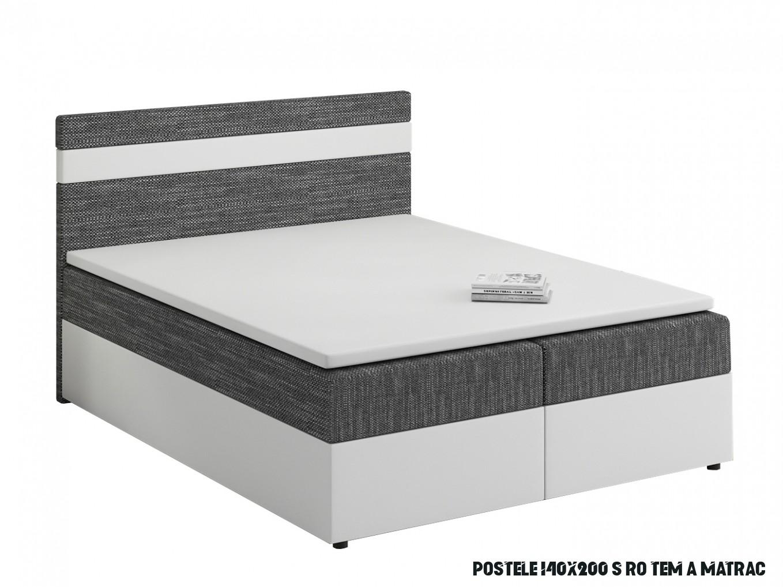 Manželská postel Boxspring 19x19 cm Mimosa (s roštem a matrací) (bílá +  tmavě šedá)  HezkýNábytek.cz