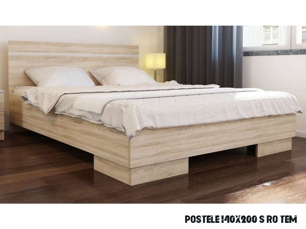 Manželská postel s roštem 14x14 cm v dekoru dub sonoma KN14