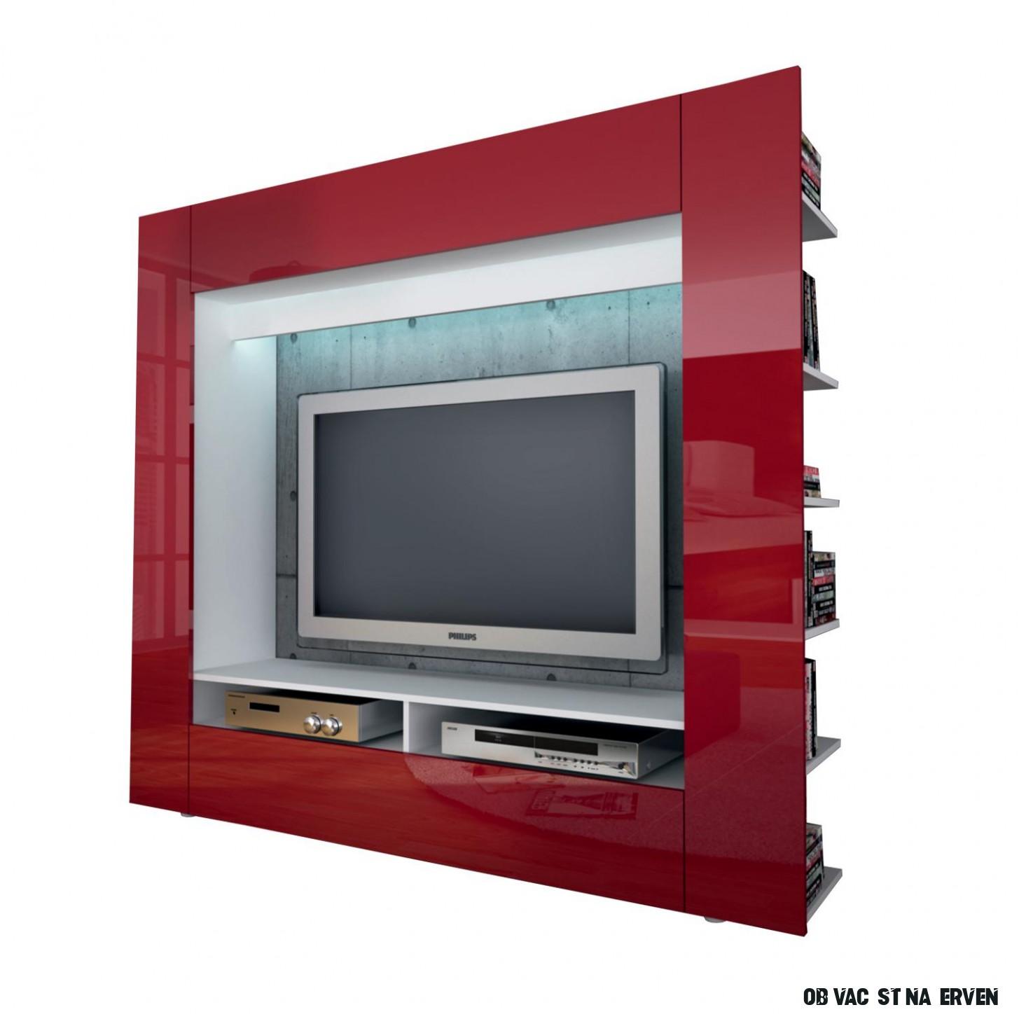Televizní stěna OLLI bílá/lesklá červená - M20A20