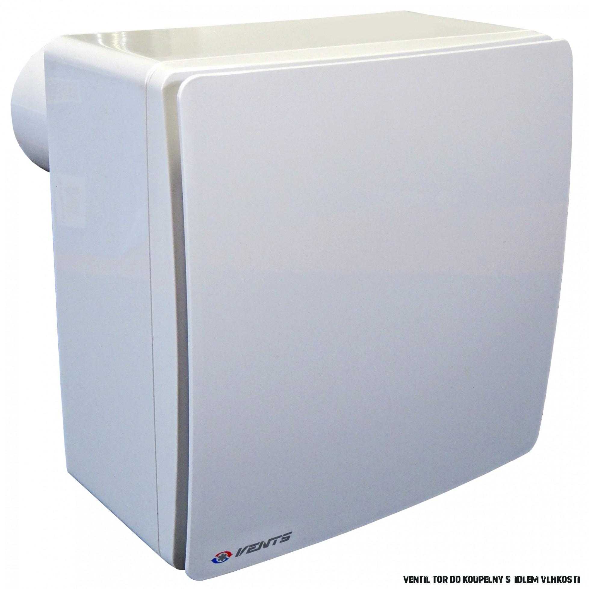 Ventilátor do koupelny se zpětnou klapkou, čidlem vlhkosti a vyšším tlakem  Ø 18 mm, horizontální
