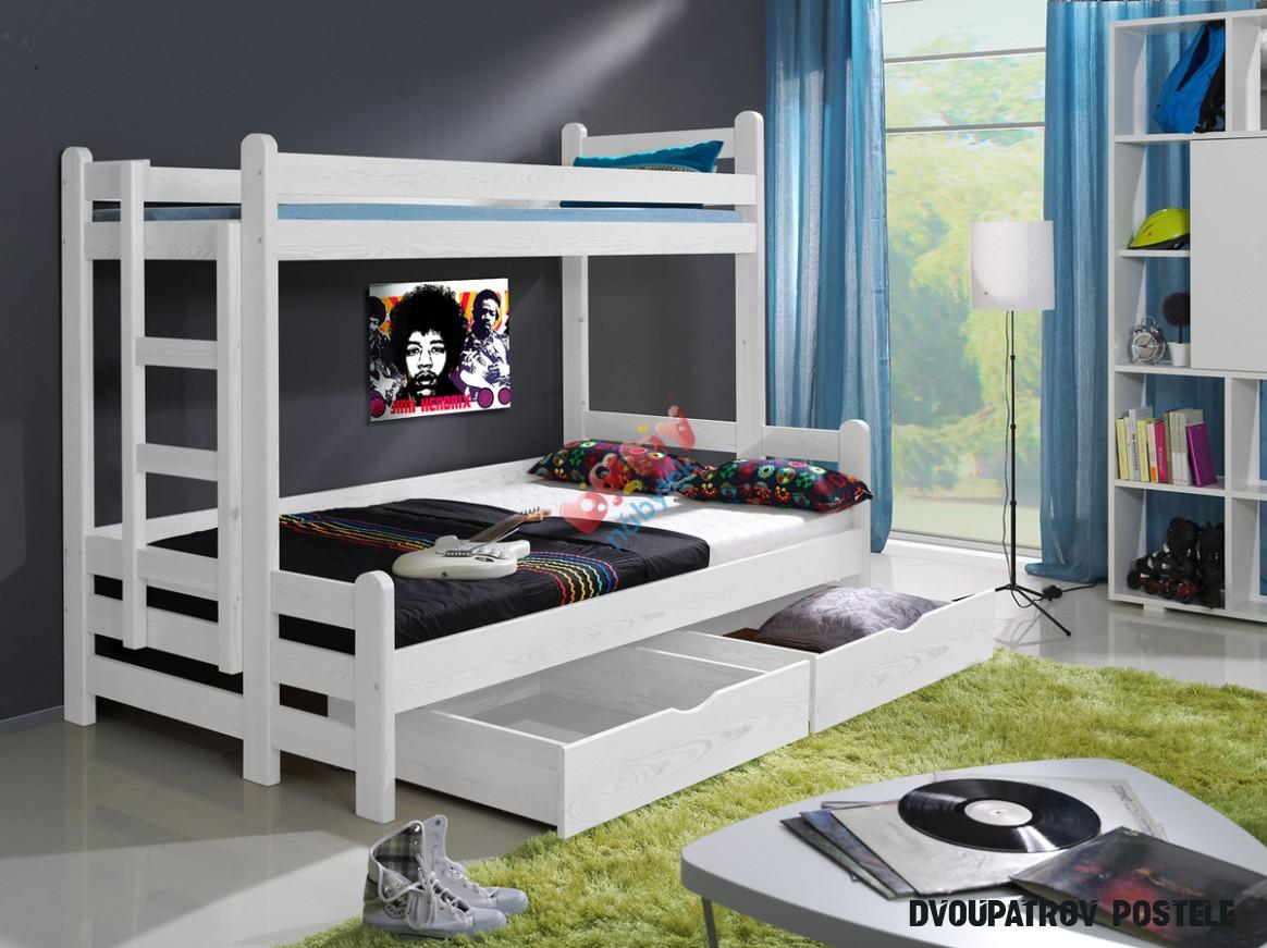 Patrová postel Kevin s rozšířeným spodním lůžkem bílý - Patrové