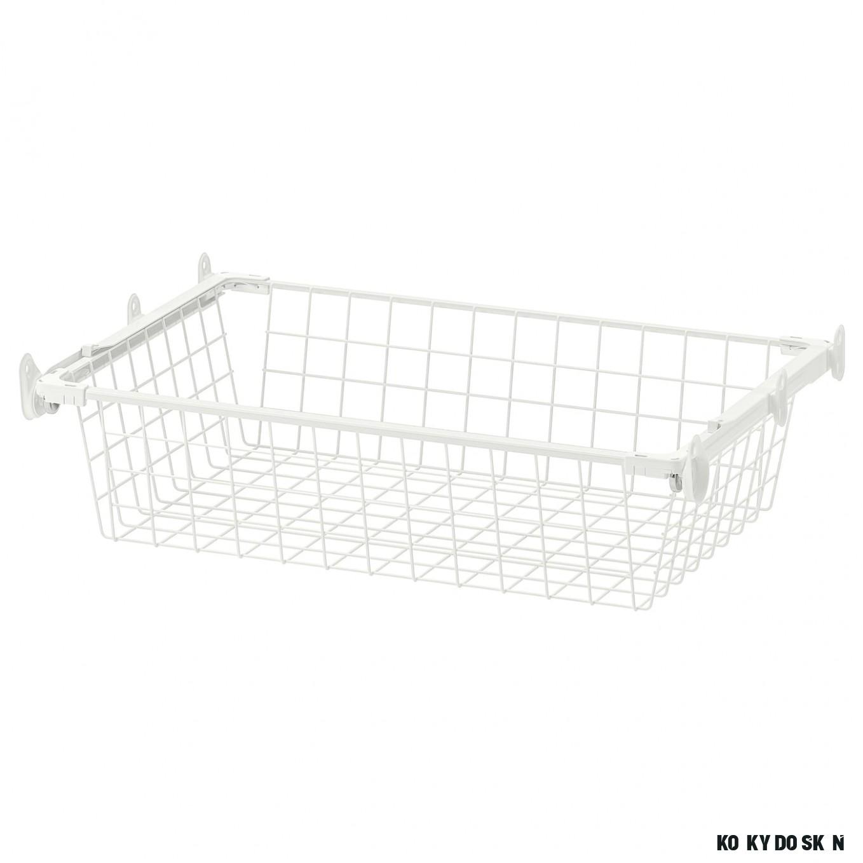 HJÄLPA Drátěný koš s výsuvným podnosem - bílá 6x6 cm