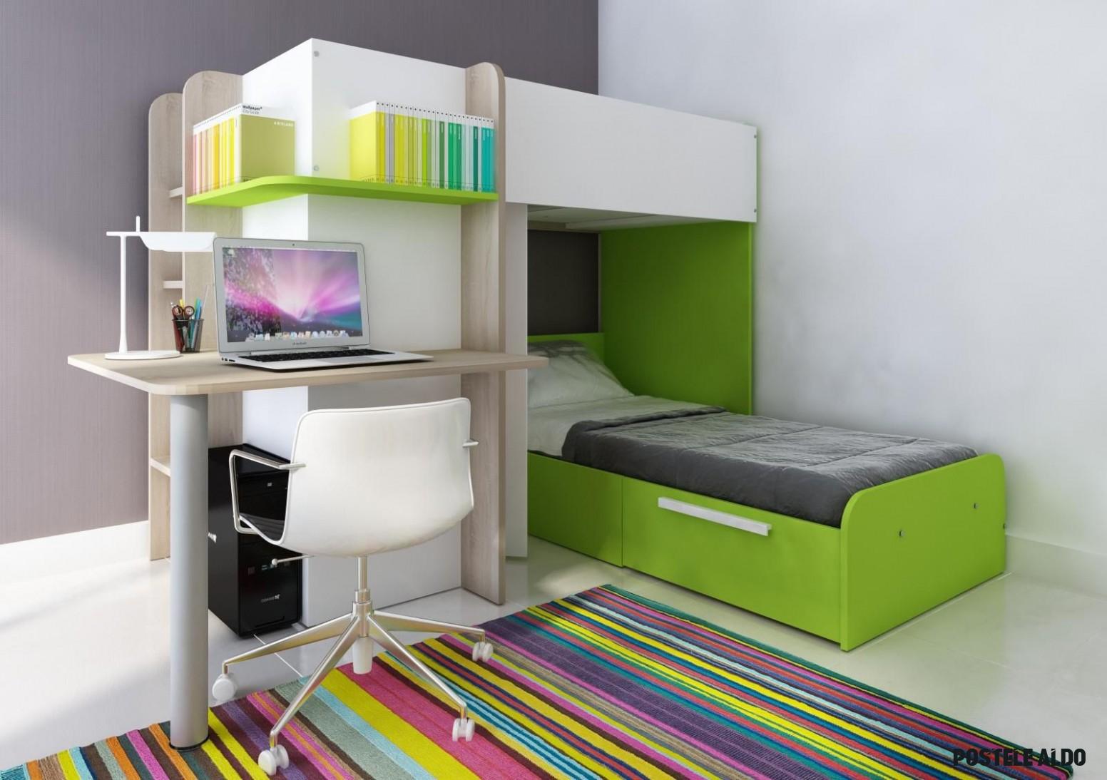 Patrová postel Palatino - zelená  InHaus.cz