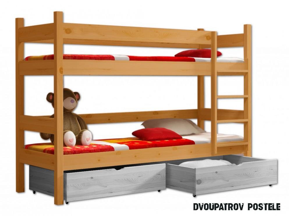 Patrová postel WOOD 20 - 20x20 cm borovice masiv - OLŠE
