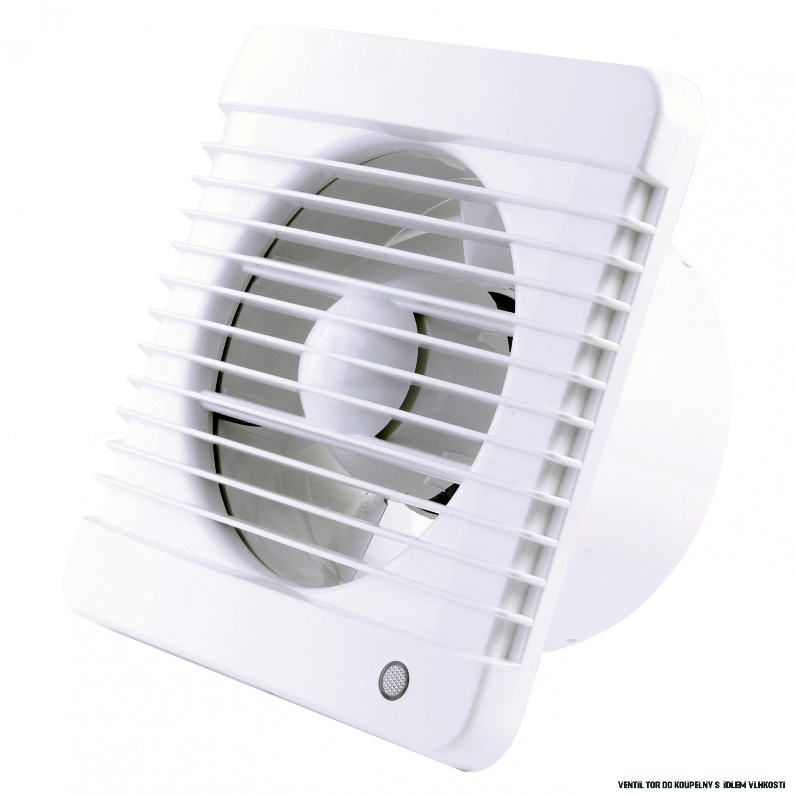 Ventilátor do koupelny s časovačem a čidlem vlhkosti Ø 18 mm, vyšší tlak  vzduchu