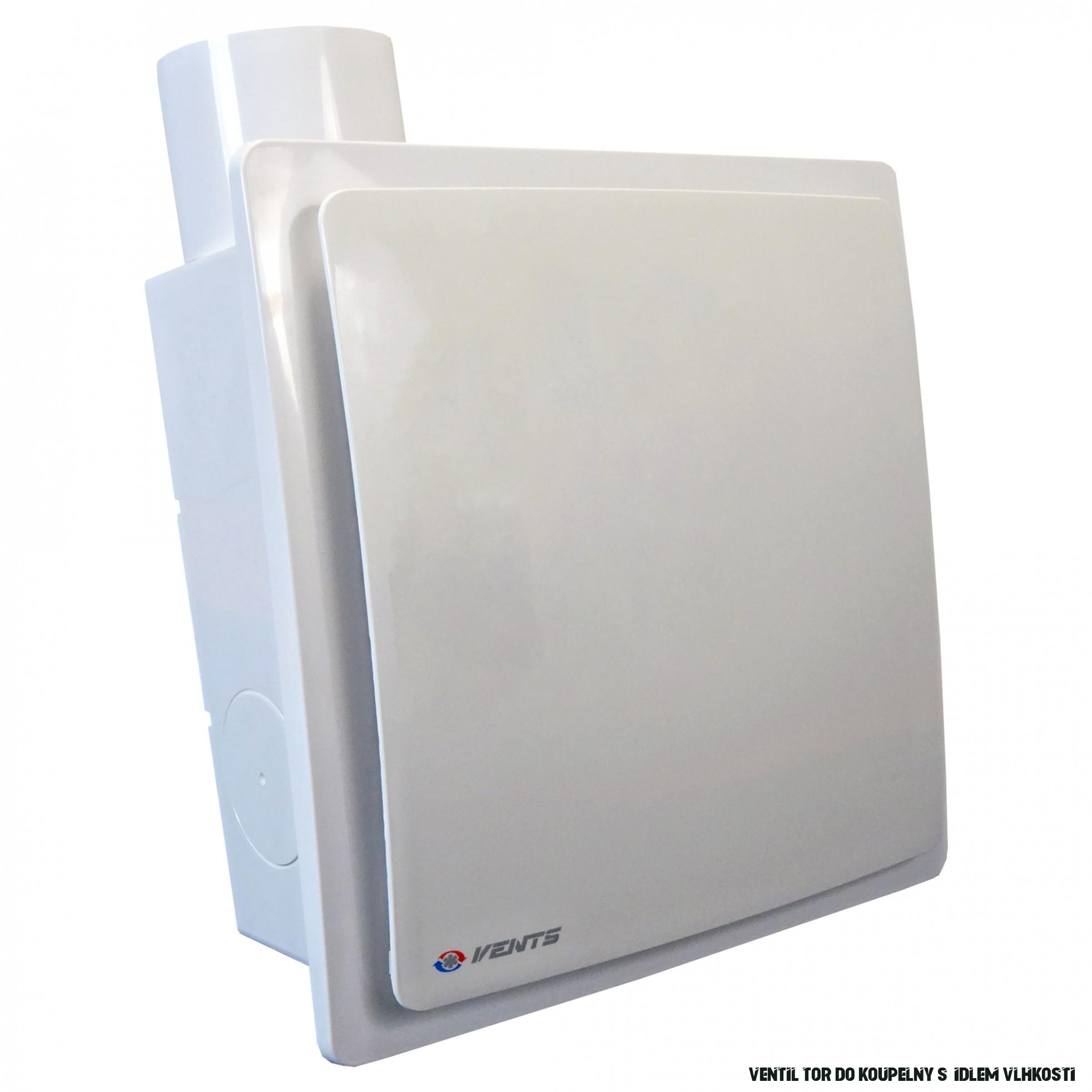 Ventilátor do koupelny se zpětnou klapkou, čidlem vlhkosti a vyšším tlakem  Ø 18 mm, vertikální