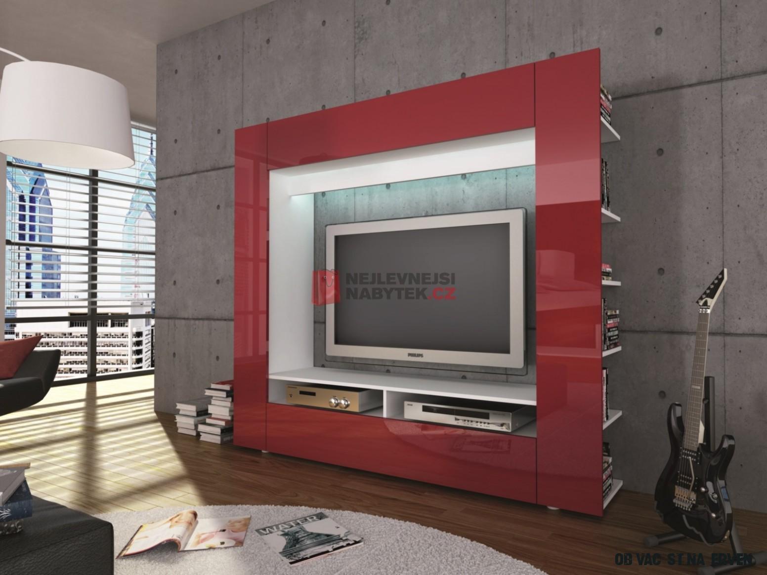 Obývací stěna OLLI M20A20, bílá/lesklá červená ZRUŠENO