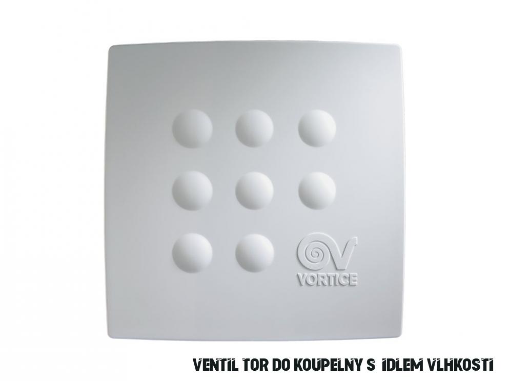 Vortice Quadro MEDIO T HCS stěnový radiální ventilátor do koupelny s  hygrostatem (čidlem vlhkosti)