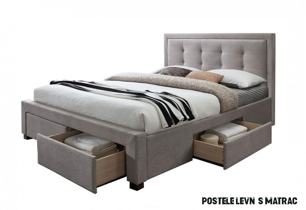 Čalouněná postel Evora 8 x 8 cm + rošt + matrace Comfort