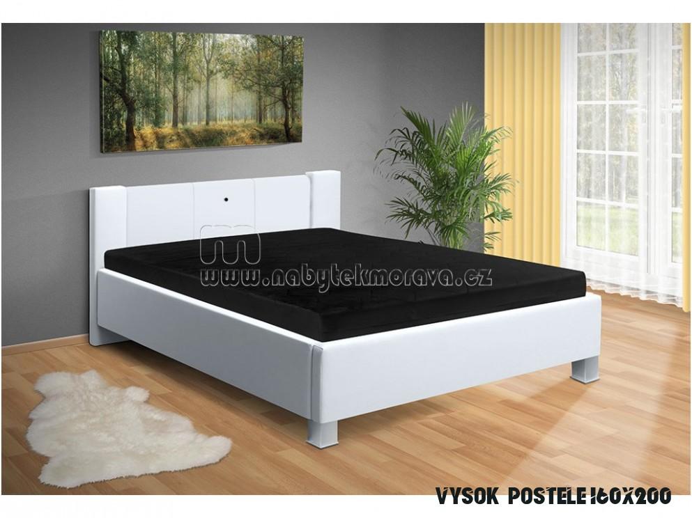 Manželská postel Luna 15x15 cm s LED světly