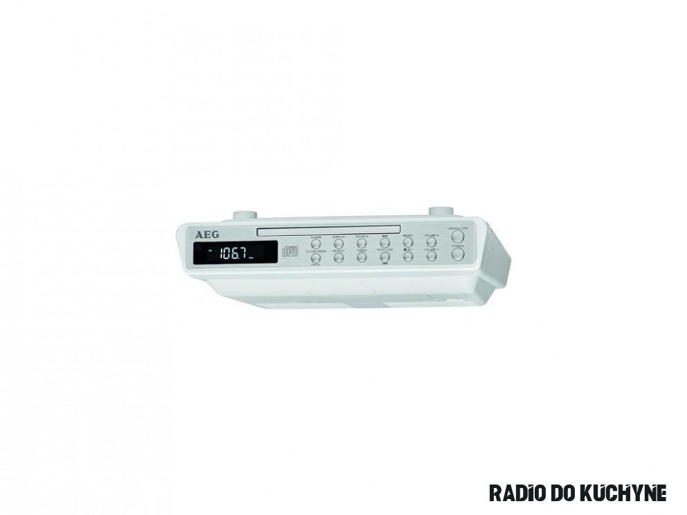 FM závesné rádio do kuchyne AEG KRC 19 CD, AUX, CD, UKW, biela, nerezová  oceľ - Kobotec