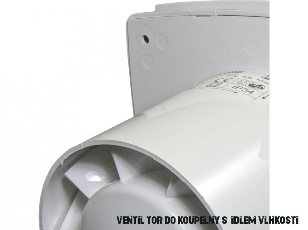 Ventilátor do koupelny s čidlem vlhkosti a časovým doběhem 18 BFZW -  Palmat.cz
