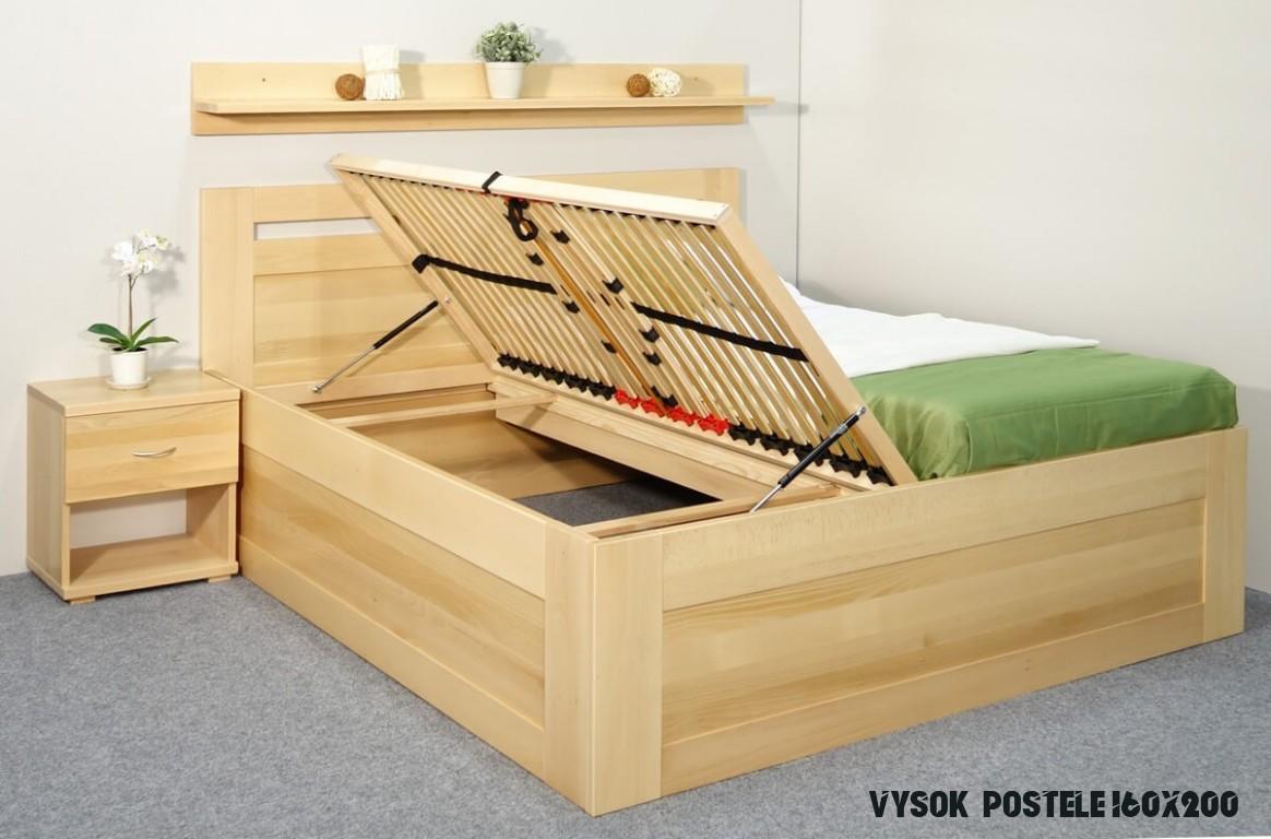 Vysoká postel s úložným prostorem Floria, 15x15, 15x15, masiv