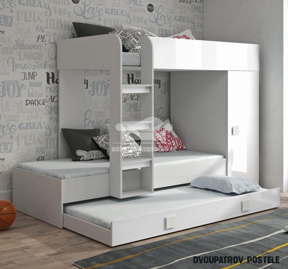 Dvoupatrová postel s přistýlkou TOLEDO 20 - bílá/bílá-lesk-bílé