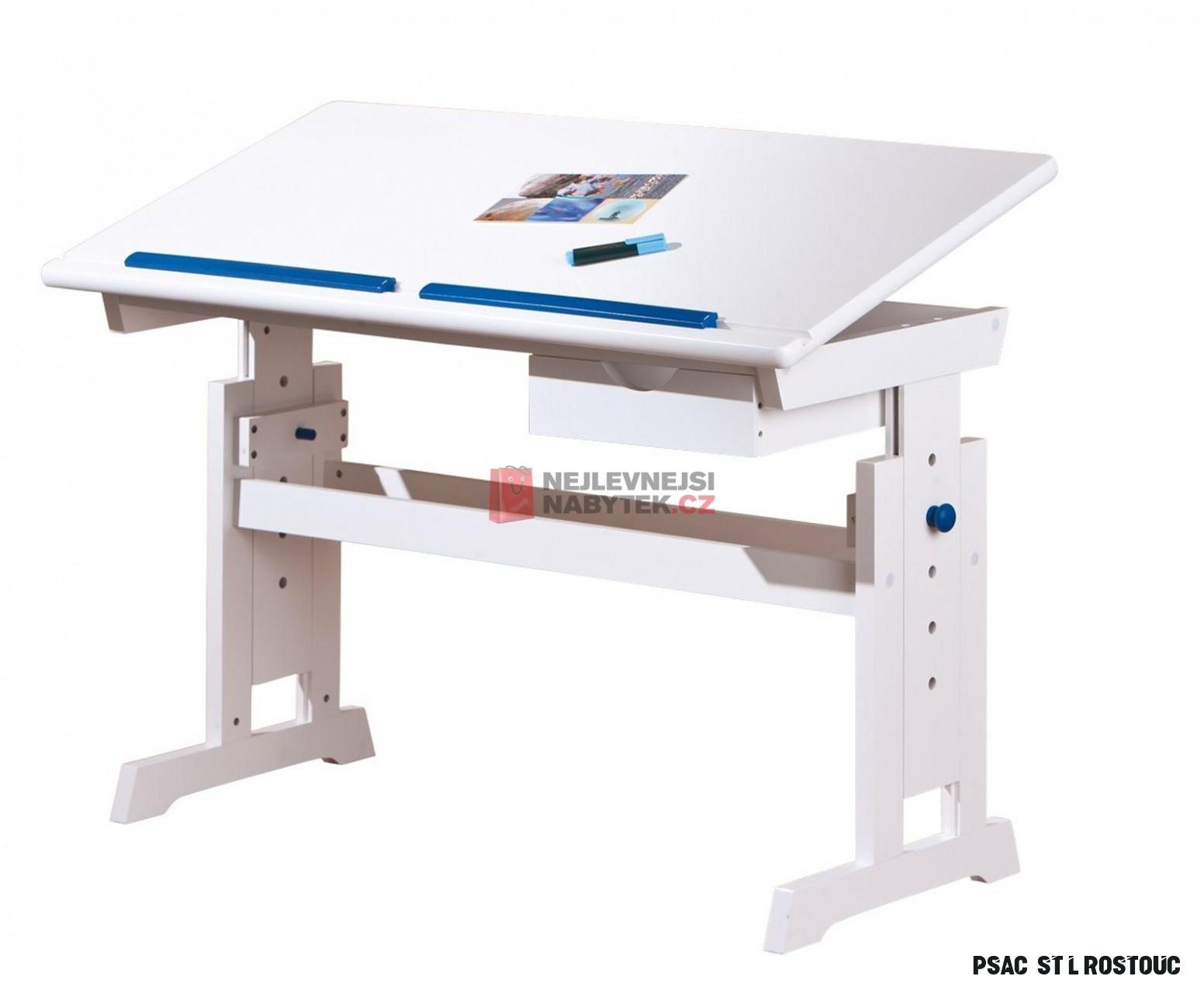 Rostoucí psací stůl DERAWAN, bílo- růžovo-modrá