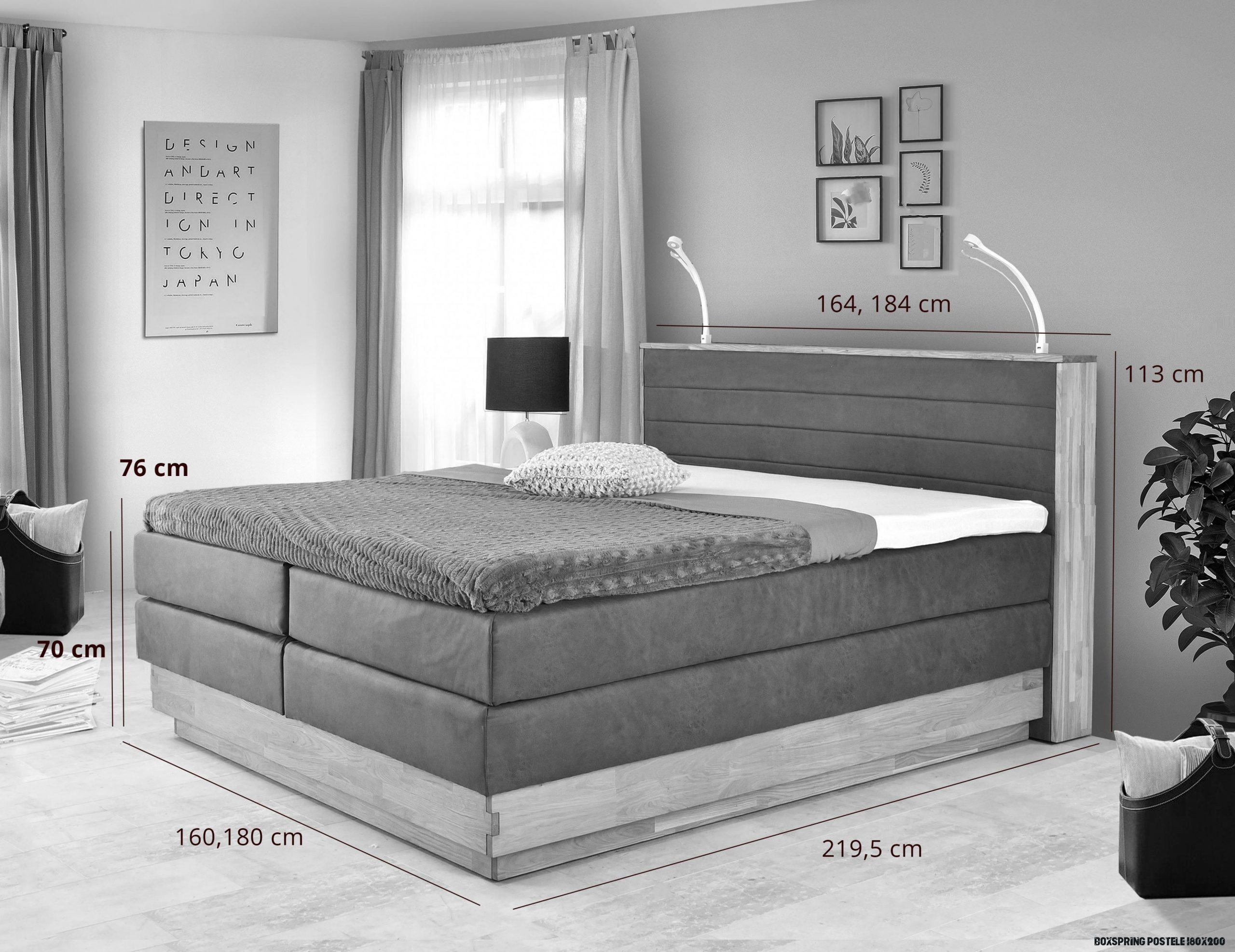 Dubová postel boxspring s úložným prostorem včetně matrací, Moneta 19 -  Nábytek Mirek