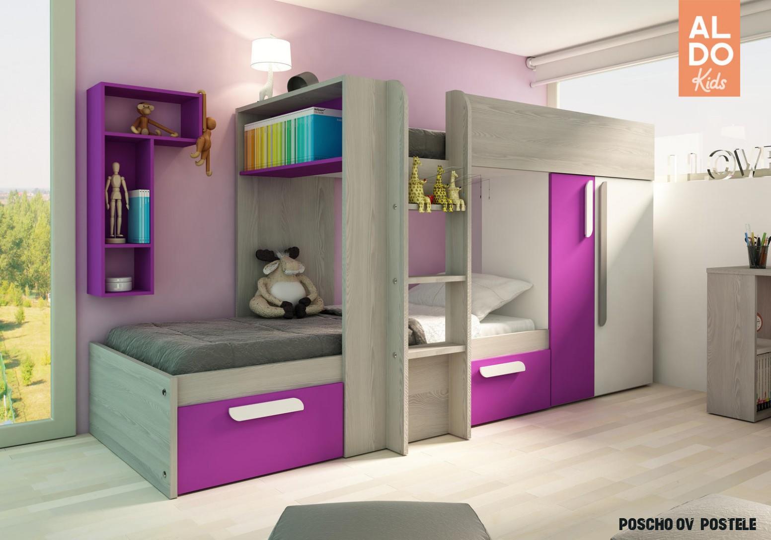 Poschodová posteľ pre dievčatá B s ružovými prvkami