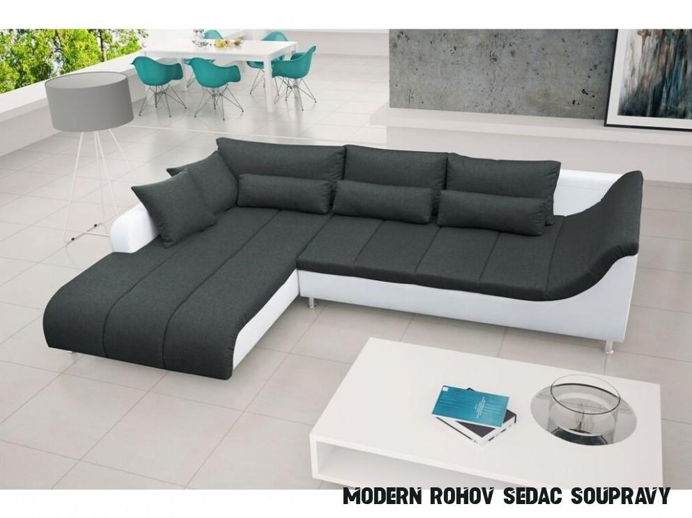 Moderní rohová sedací souprava v kombinaci černé a bílé barvy levá