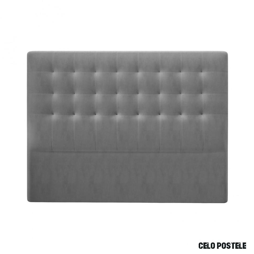 Šedé čelo postele se sametovým potahem Windsor & Co Sofas Athena, 12 x 12  cm