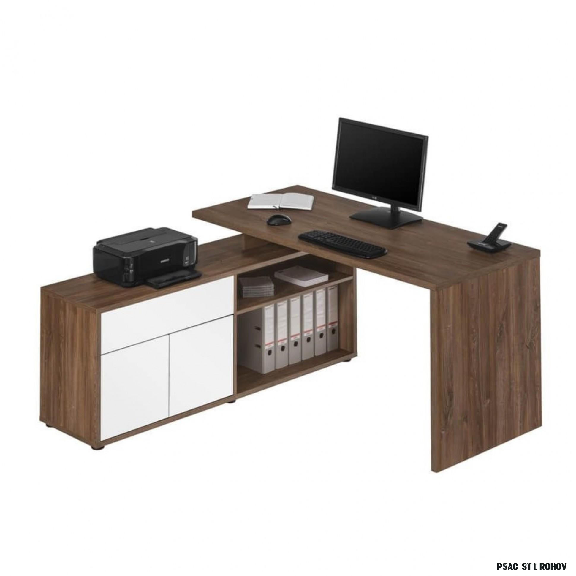 Rohový psací stůl ARLO dub tmavý/bílá  Sconto