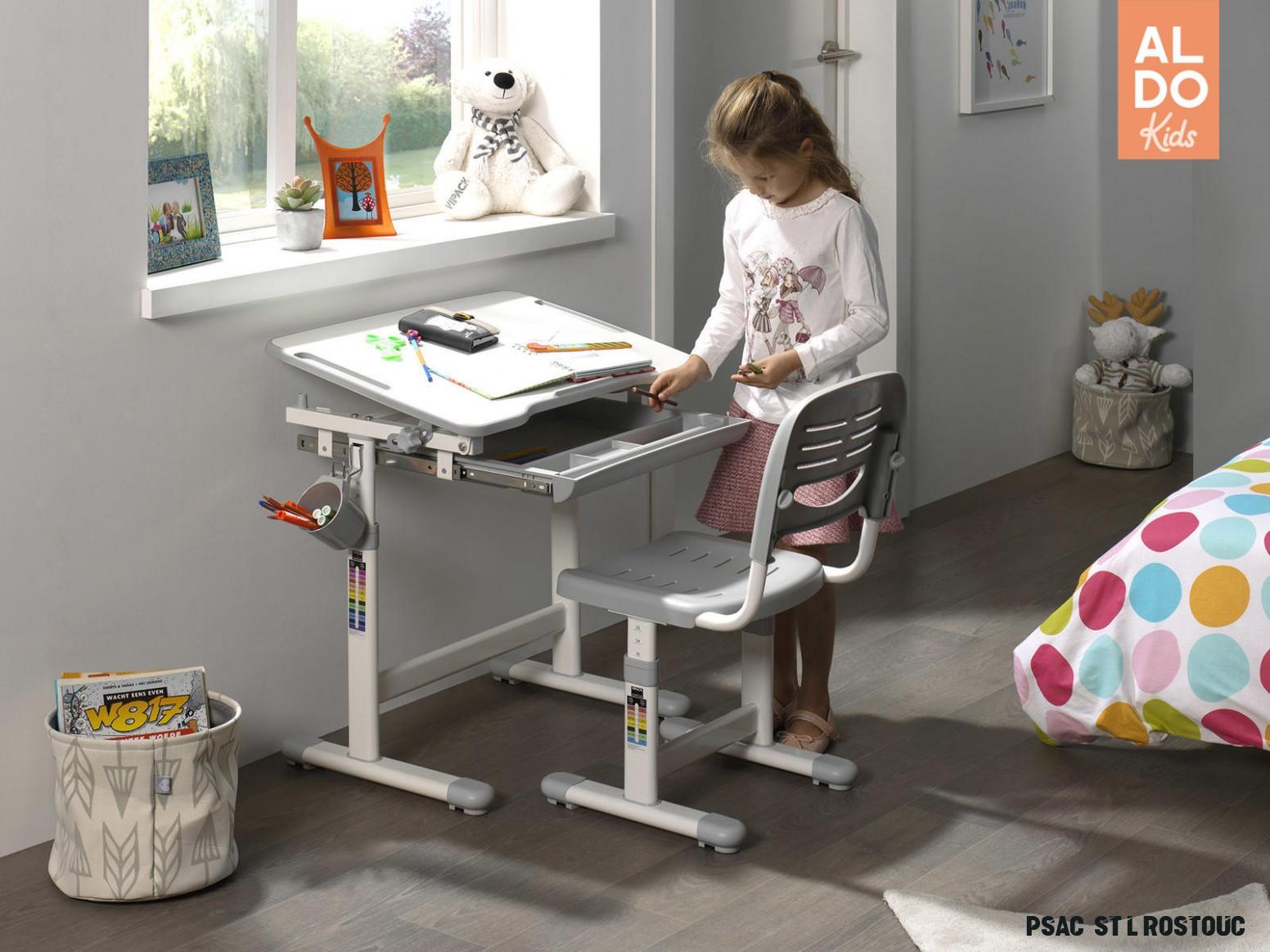 Rostoucí psací stůl se židlí Comfort - šedý