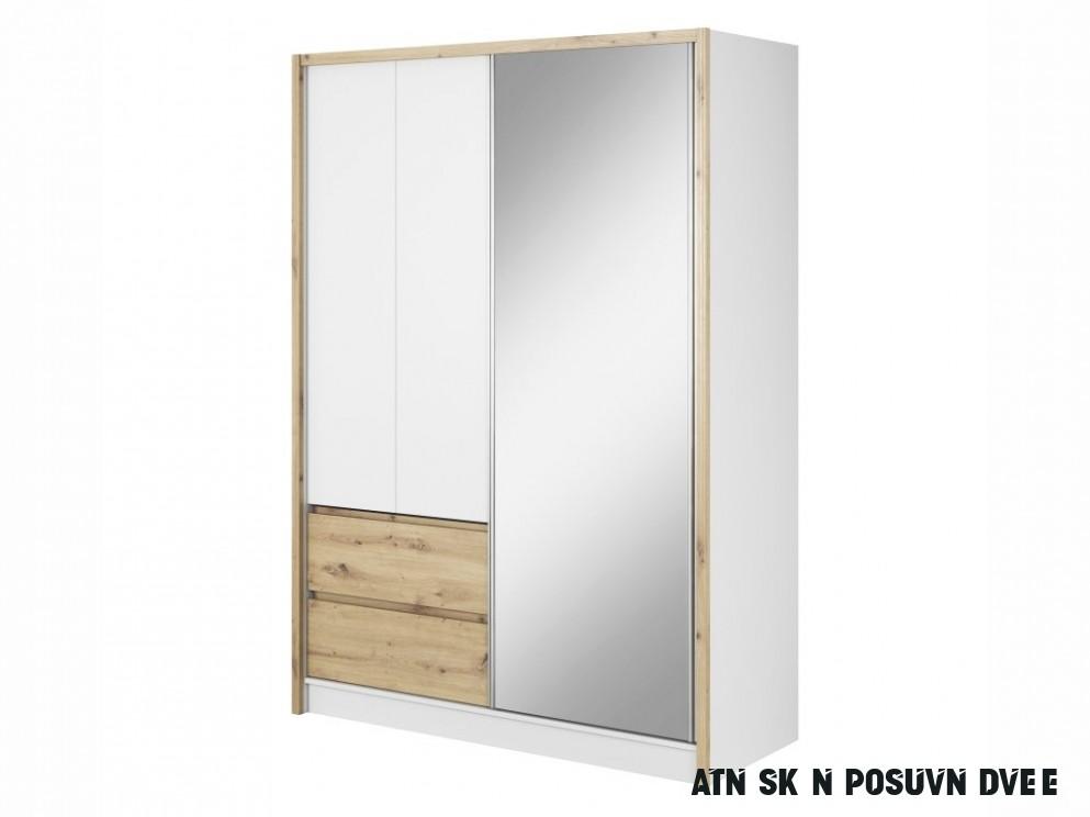 Šatní skříň - SARA 10, bílá/dub artisan