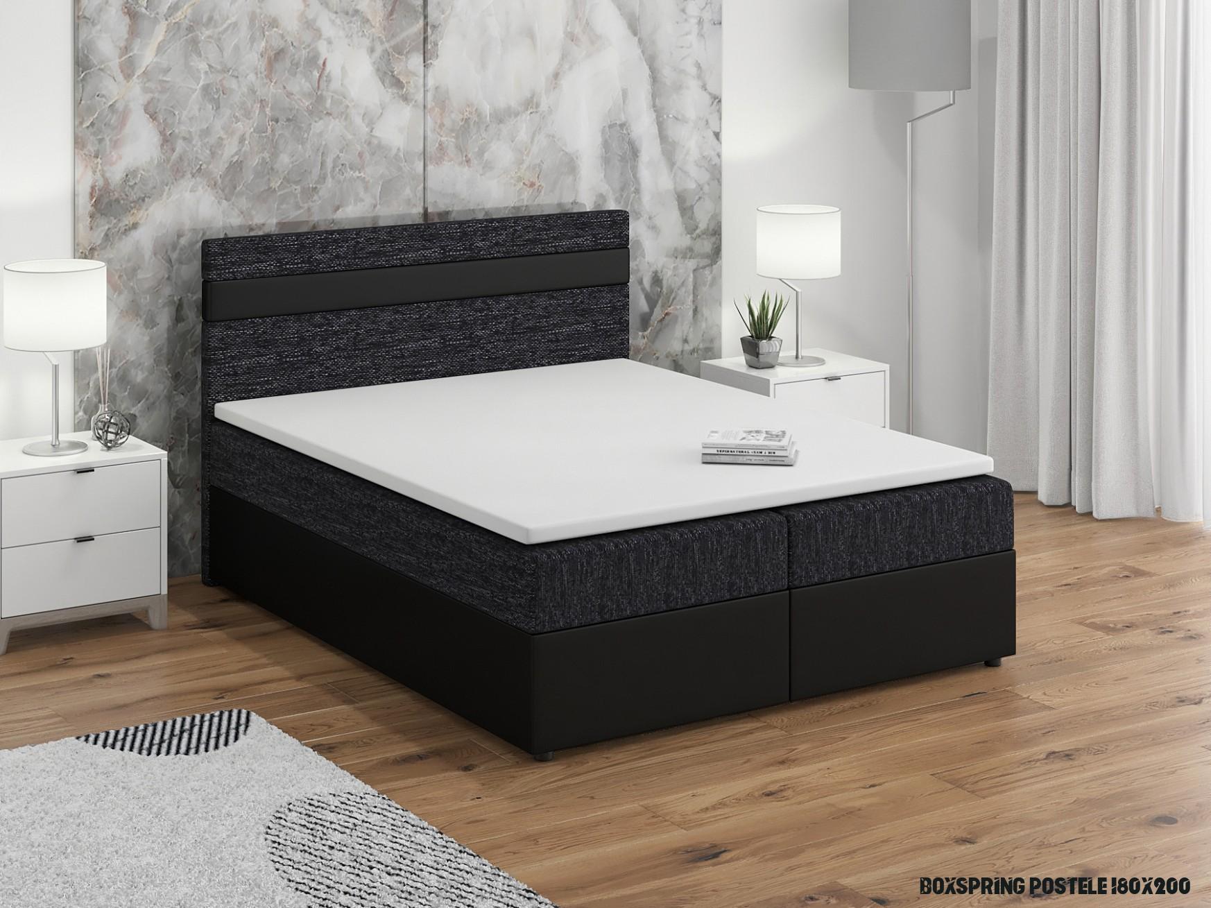 Manželská posteľ Boxspring 19x19 cm Mimosa (s roštom a matracom) (čierna  + čierna)  NovýNábytok.sk