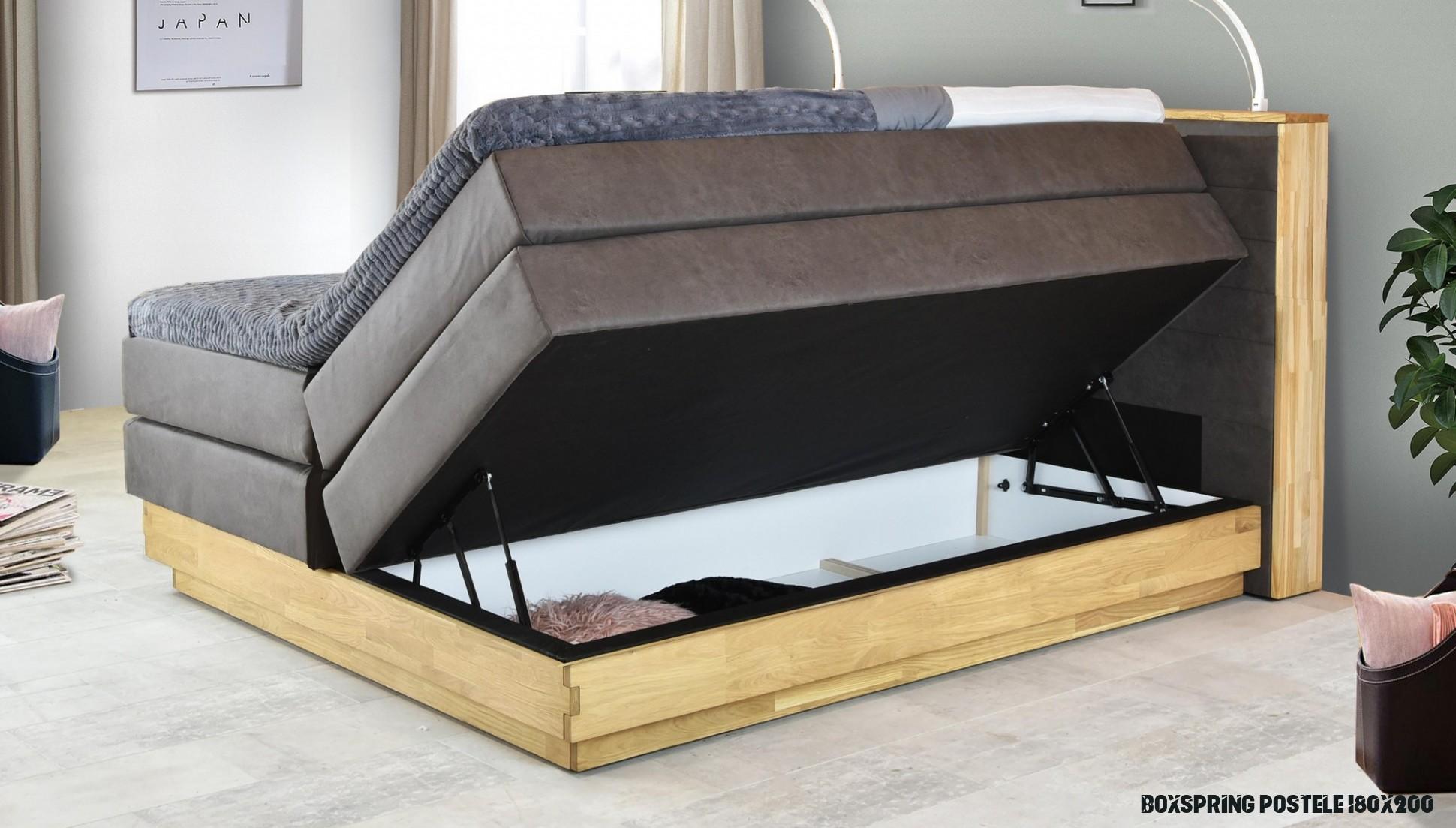 Dubová posteľ boxspring s úložným priestorom vrátane matracov MONETA