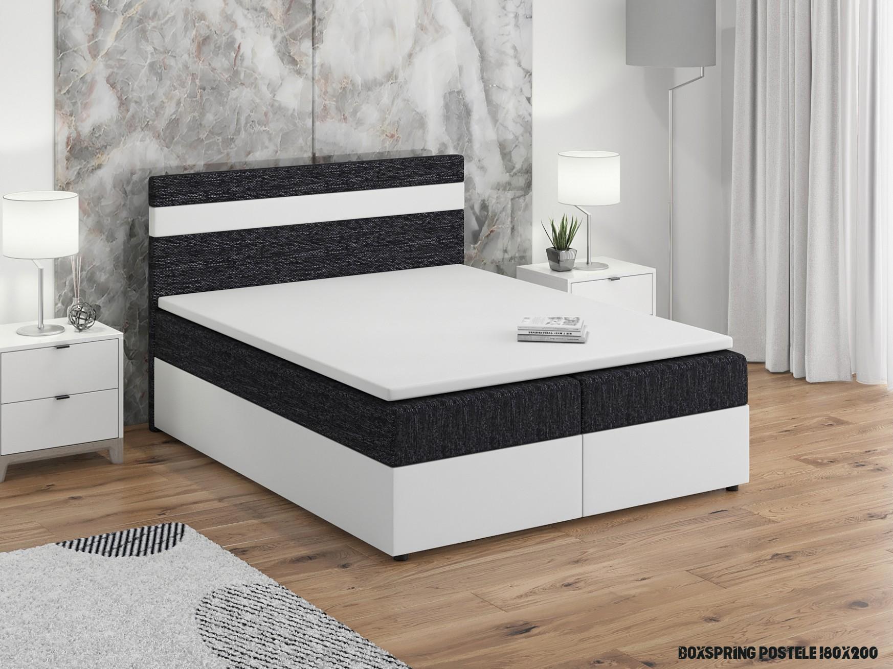 Manželská posteľ Boxspring 19x19 cm Mimosa (s roštom a matracom) (biela +  čierna)  NovýNábytok.sk
