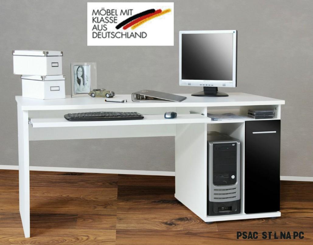 Pc počítačový stůl - BÍLÁ/ČERNÁ LESK :