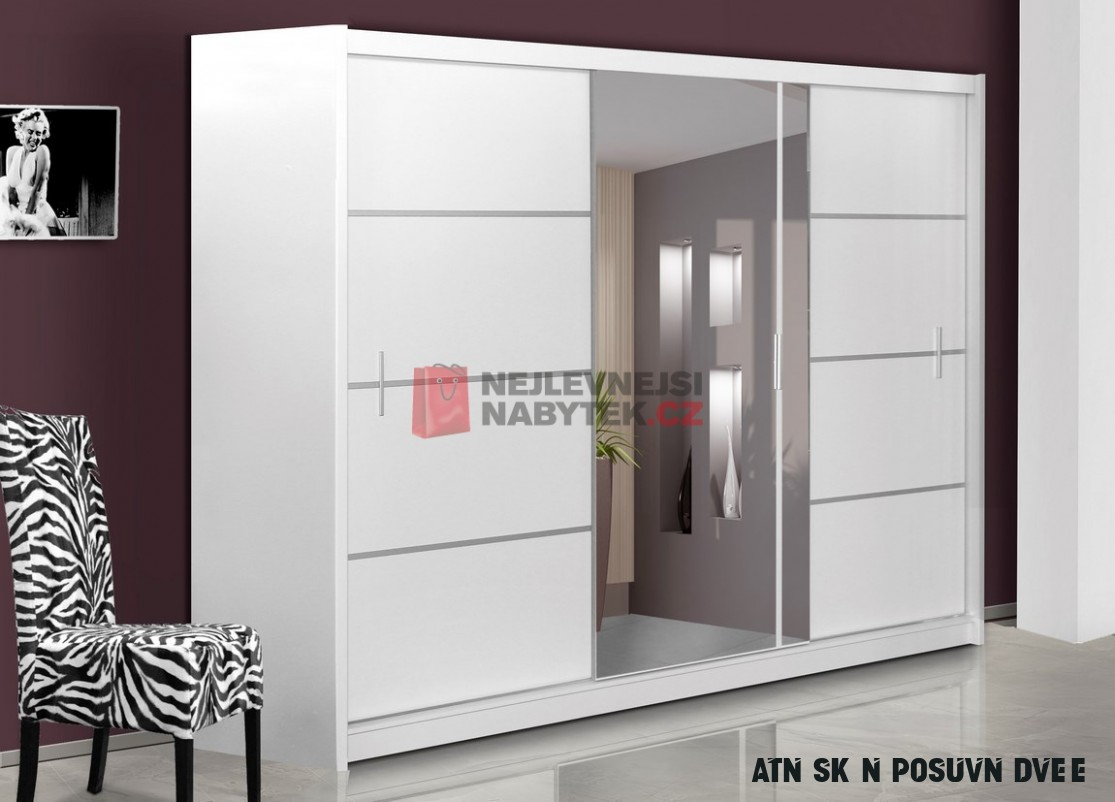 Šatní skříň s posuvnými dveřmi SARON 10, bílá