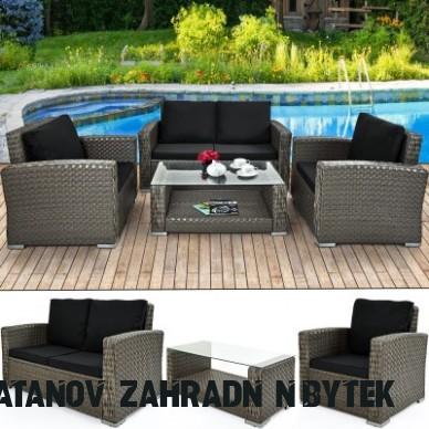 Zahradní ratanový nábytek ELA šedá