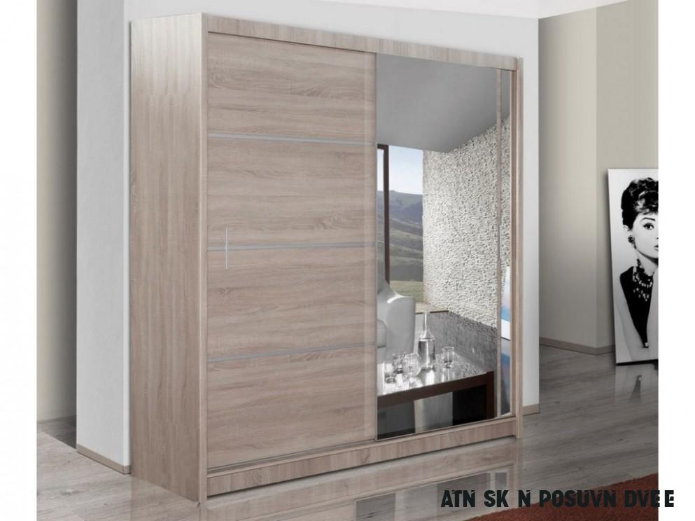 Šatní skříň se zrcadlem 10 cm s posuvnými dveřmi a korpusem v