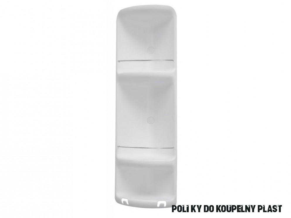 CAESAR třípatrová rohová polička do sprchy 10x10x10 mm, ABS plast, bílá