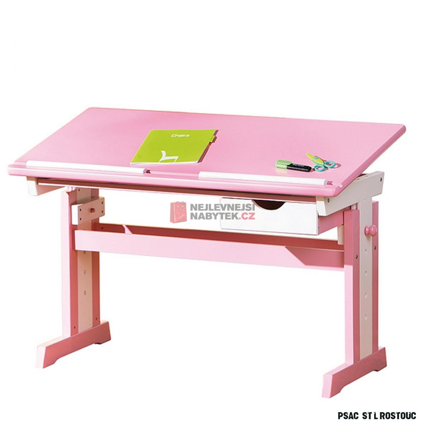 Dětský rostoucí psací stůl KONGDE, růžovo/bílý