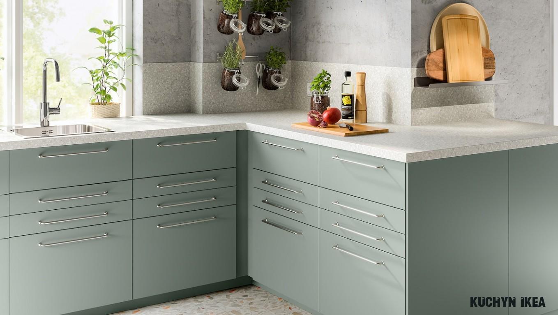 Harmonická šedozelená kuchyně BODARP - IKEA