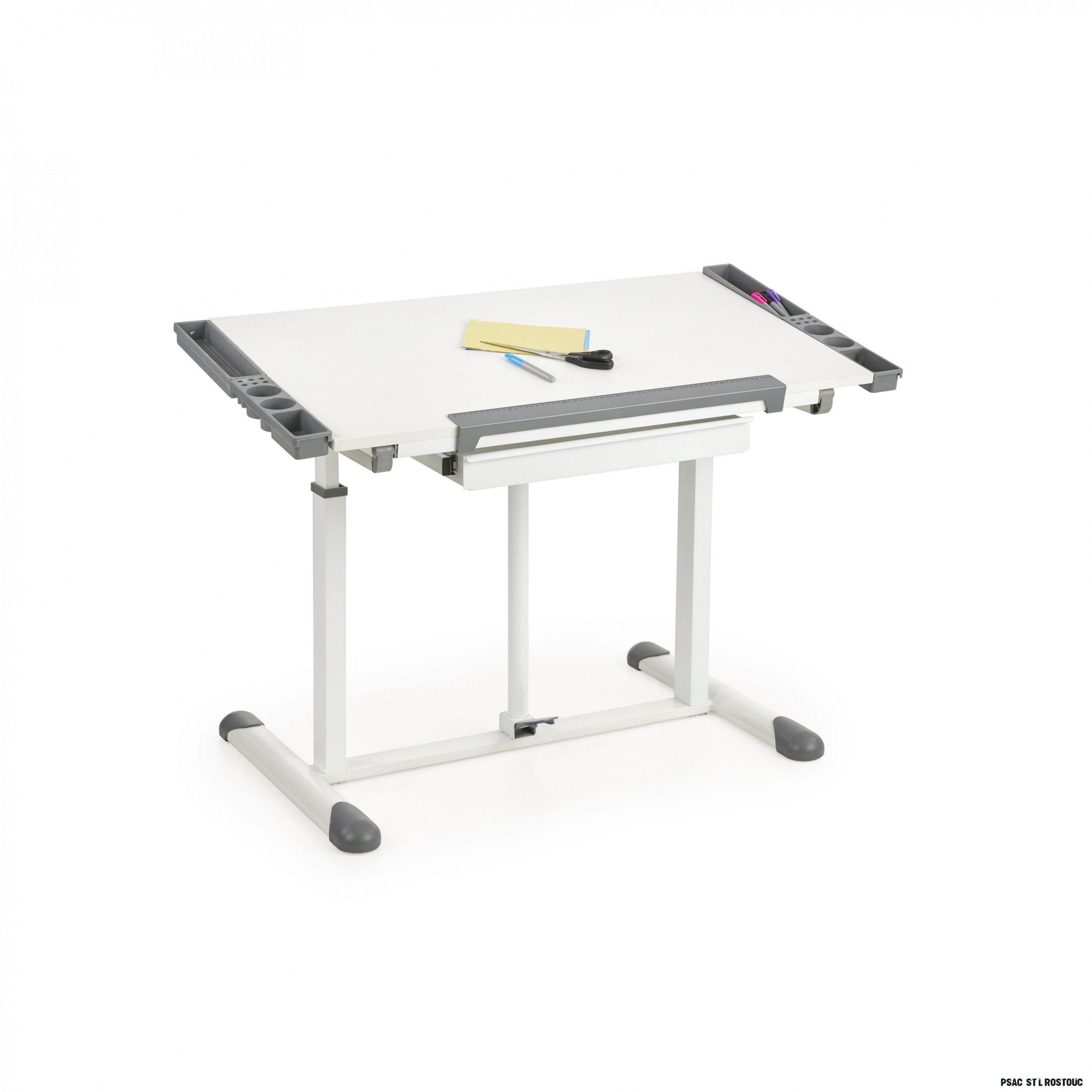 Dětský psací rostoucí stůl BUDDY - s nastavitelnou výškou a sklonem -  bílo/šedý