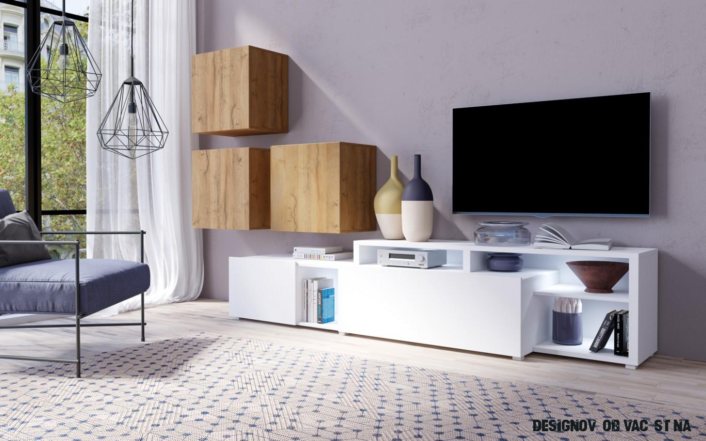 Designová obývací stěna Michigan A, bílá/dub grandson - inspirace