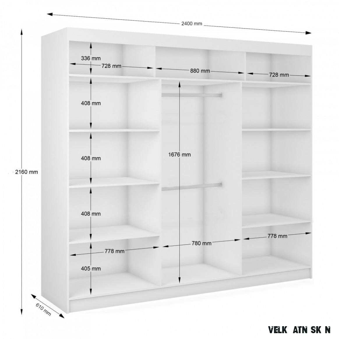 Velká bílá šatní skříň se zrcadlem Kian 13 cm
