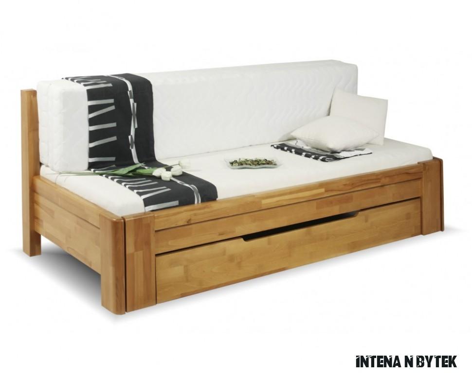 Rozkládací postel s úložným prostorem DUO VERONA, 12x12, buk