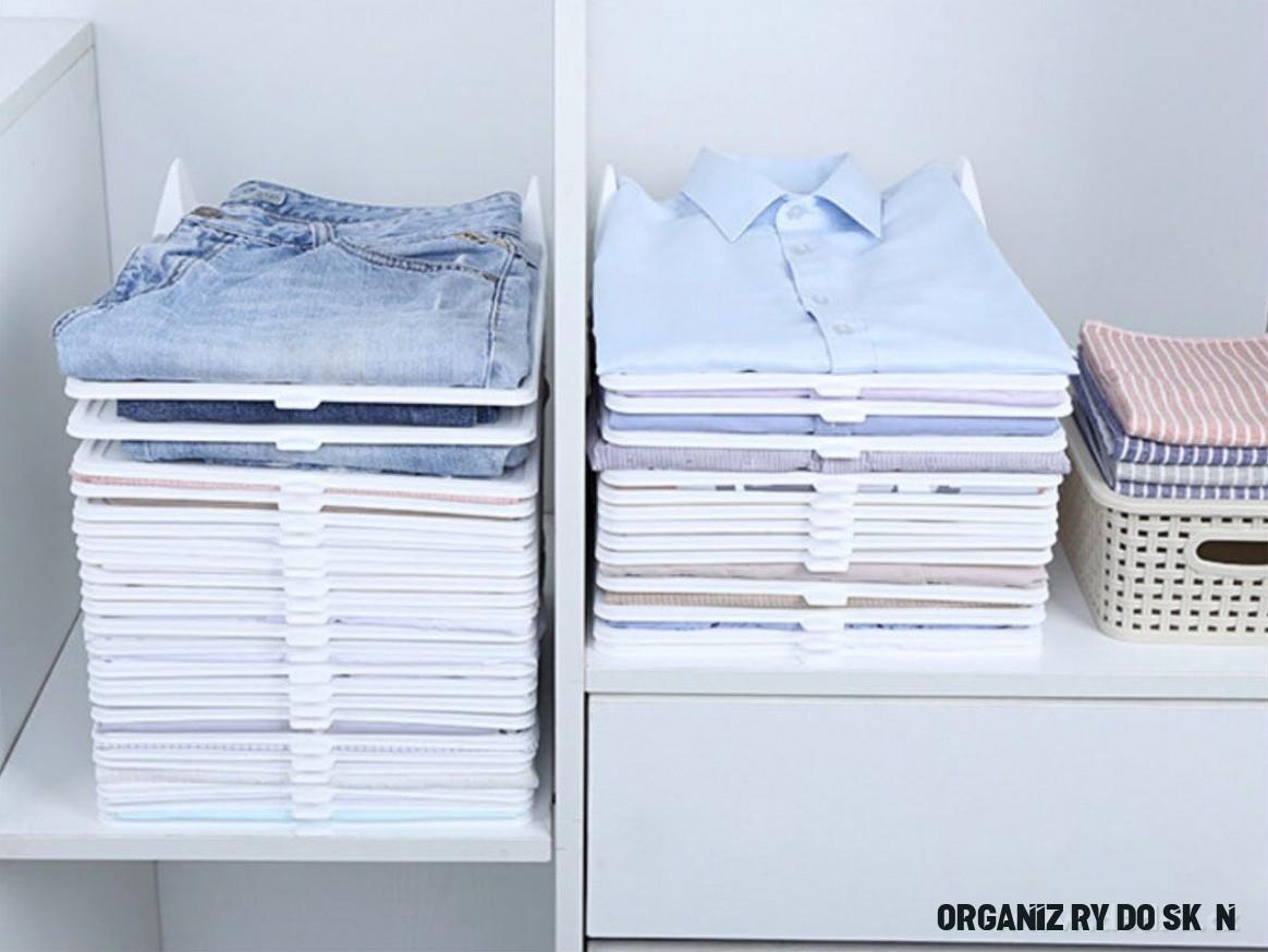 Sada 19 ks STOHOVATELNÝ PRÁDLOŠTOS praktický organizér na oblečení, z  pevného plastu